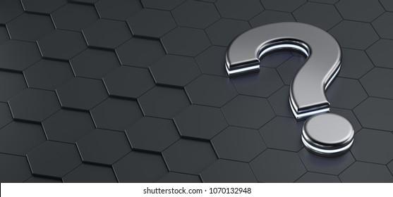 Metal question mark on a black hexagonal grid. 3d render illustration.