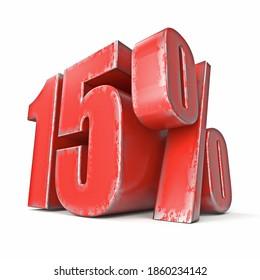 Grunge rouge métallique 15 % signe 3D