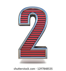 Metal red lines font Number TWO 2 3D render illustration isolated on white background