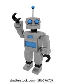 Metal Robot Toy Vintage 3D Rendering