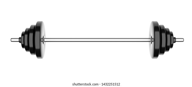 Metal rod with a load on a white background close-up. 3d illustration.