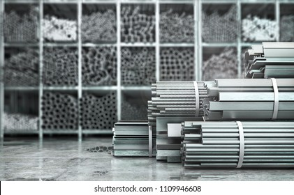 Metal rolled products on a blurred background. 3d illustration