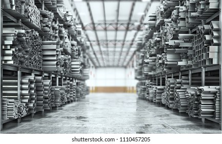 Metal rolled products on a warehouse background. 3d illustration