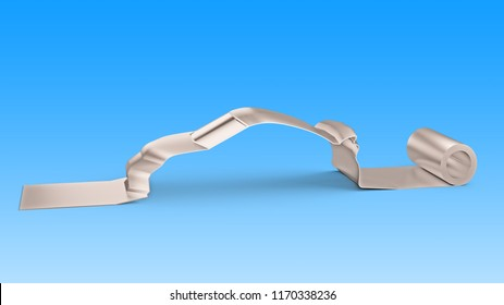 Metal roller sheet in sport car shape, isolated on blue, concept of energy saving, 3D illustration.