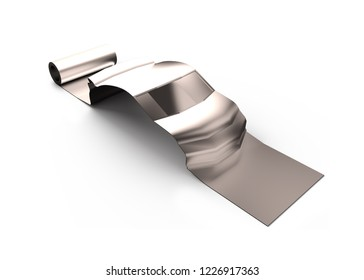 Metal roller sheet in sport car shape, isolated on white, concept of energy saving, high angle view, 3D illustration.