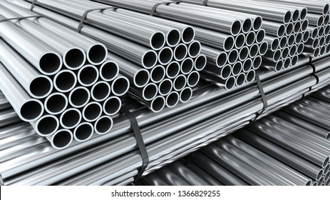 Metal round tubes on warehouse. Industrial 3d illustration