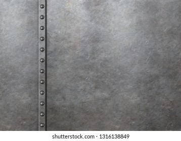 Metal rustic armor background with rivets 3d illustration