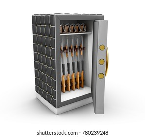 Metal Safe Realistic 3D Illustration. Icon Metal Box Isolated On White Background.