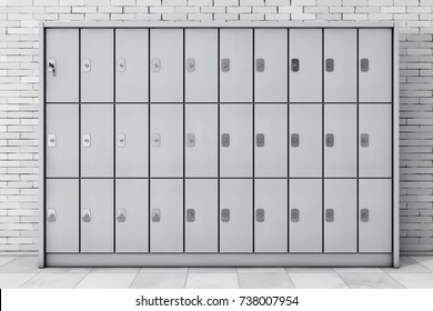 Metal Safety Lockers for Luggage in front of brick wall. 3d Rendering