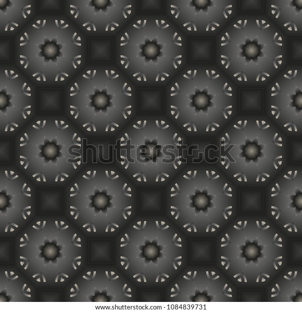 Metal seamless pattern with simple geometric ornate for brand, product, gift or card background