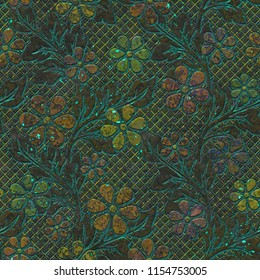 Metal seamless texture with flowers pattern, 3d illustration
