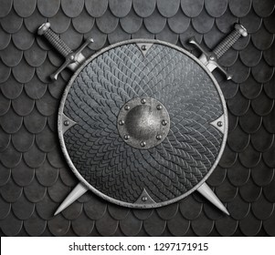 metal shield with crossed swords over armour background 3d illustration