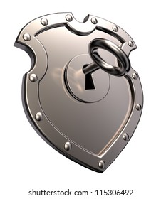 metal shield with keyhole and key on white background - 3d illustration