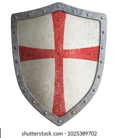 Metal shield of medieval templar or crusader 3d illustration