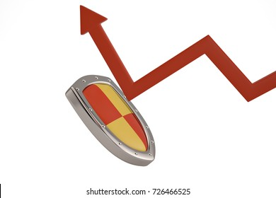 Metal shield with red arrow on white background.3D illustration.
