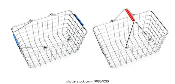 metal shopping baskets in red and blue