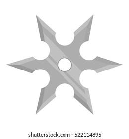 Metal shuriken icon monochrome. Single weapon icon from the big ammunition, arms set.