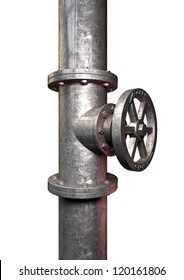 A metal shutoff valve attached to a metal pipe with bolts on an isolated background