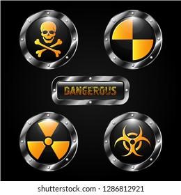 metal signs radiation, poison, biological hazard, quarantine zone, dangerous yellow color