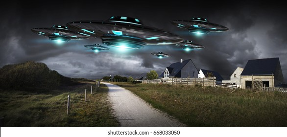Metal and silver UFO invasion on planet earth landascape 3D rendering