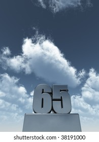metal sixty five - 65 - in front of cloudy blue sky - 3d illustration