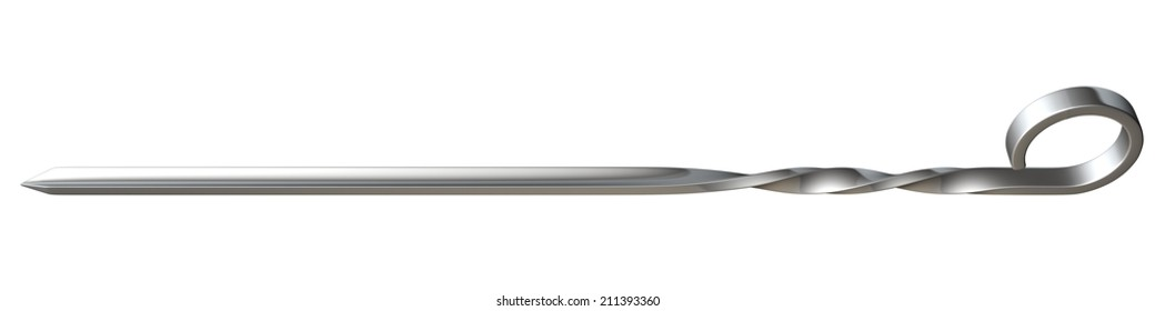 metal skewer. isolated on white background. 3d