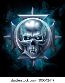 Metal skull on the cross in smoke