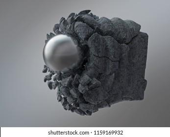 metal sphere breaks the concrete block, 3d illustration