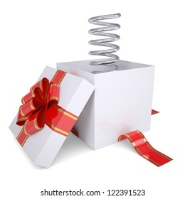 Metal spring from an open gift. Isolated render on a white background