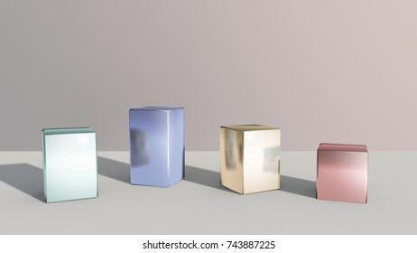 metal squares stand for window display by 3D rendering