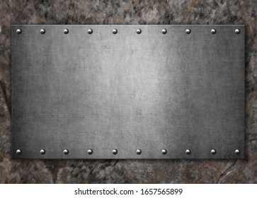 Metal steel plate with rivets on a stone background.3d illustration
