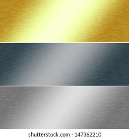 metal texture background in gold, silver and chrome colors