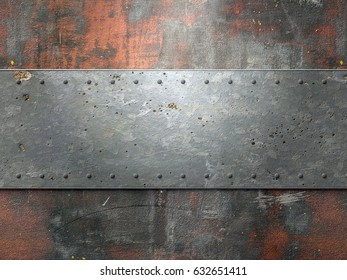 Metal texture with plates and rivets background 3d illustration
