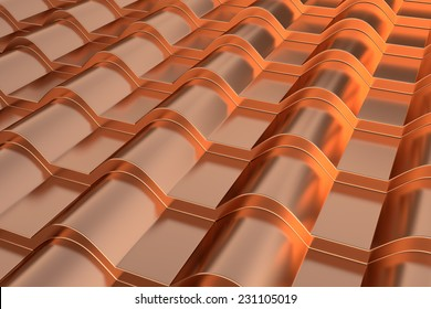 Metal tile close-up./The coating material for the roof