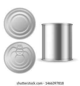 Metal tin can. Canned foods mockup, aluminium steel package closed with ring pull, realistic silver blank isolated packaging template