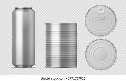 Metal tin can. Realistic food packages blank cylinder templates, aluminum conserved boxes with different views.  isolated illustration packaging set