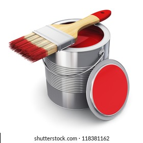 Metal tin can with red paint and paintbrush isolated on white background