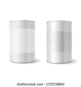 Metal tin can, Tincan Ribbed Canned food. Mock up.