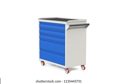 Metal tool cabinet-table on wheels with drawers. A convenient place for storing tools and spare parts. Service Garage Tools Box. 3D-model rendering of the table for shooting from above.