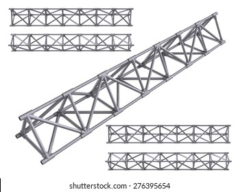 Metal trusses set isolated on white