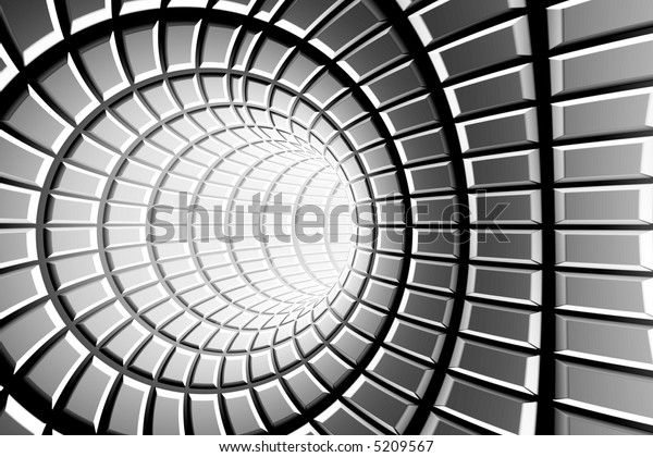 Metal tunnel abstract background