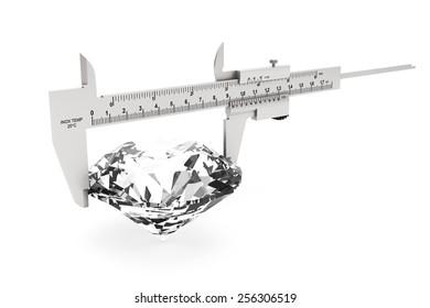 Metal Vernier Caliper with Diamond on a white background