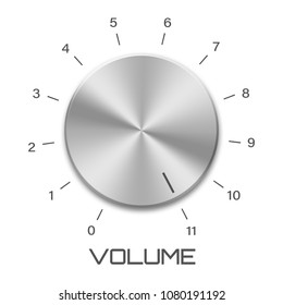 Metal volume control knob that goes to eleven isolated on white background