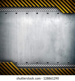 metal with warning stripes