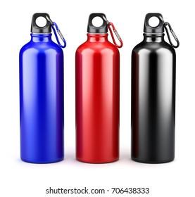 Metal water bottles on white background - 3d illustration