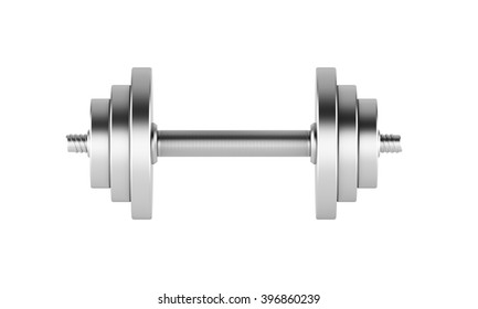 Metal weight for sport. Isolated. Concept of training.