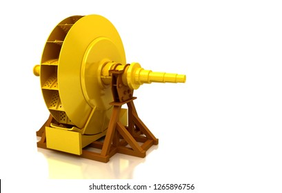 Metal wheel for water mill isolated on white background, grinder, millstone, grindstone, 3d illustration