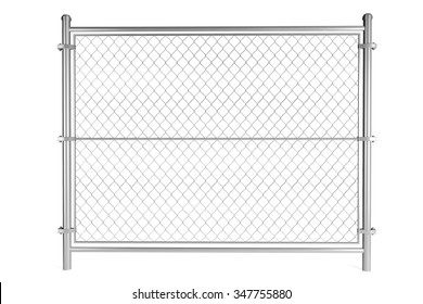 Metal Wired fence on a white background
