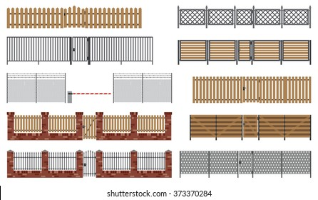 Metal and wooden fences and gates in flat style. Raster version.
