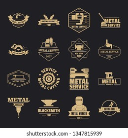 Metal working logo icons set. Simple illustration of 16 metal working logo icons for web